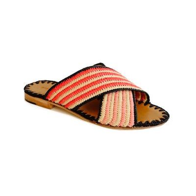 Juno Striped Slide Strawberry