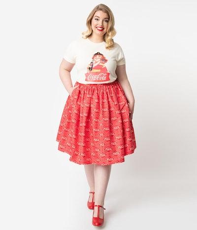 Plus Size Red & Ivory Coca-Cola Print High Waist Circle Swing Skirt