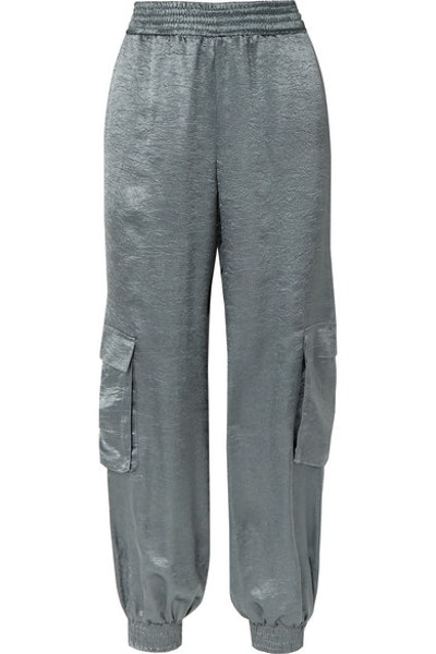 SALLY LAPOINTE Crinkled-satin track pants