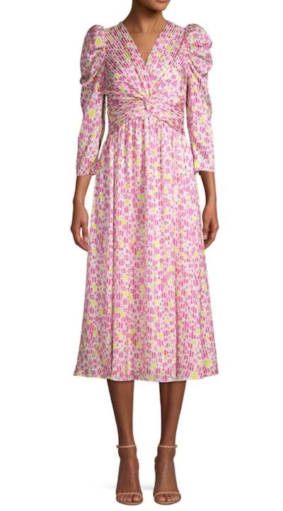 Marker Floral Puff-Sleeve Midi Dress