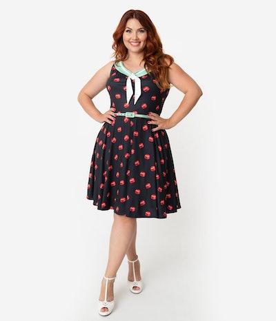 Plus Size 1950s Style Black & Red Bottle Cap Print Pop! Fit & Flare Dress