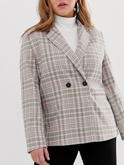 Collusion Double Breasted Check Blazer With Side Tape