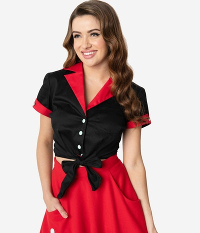 1950s Black & Red Diner Graphic Cappie Crop Blouse