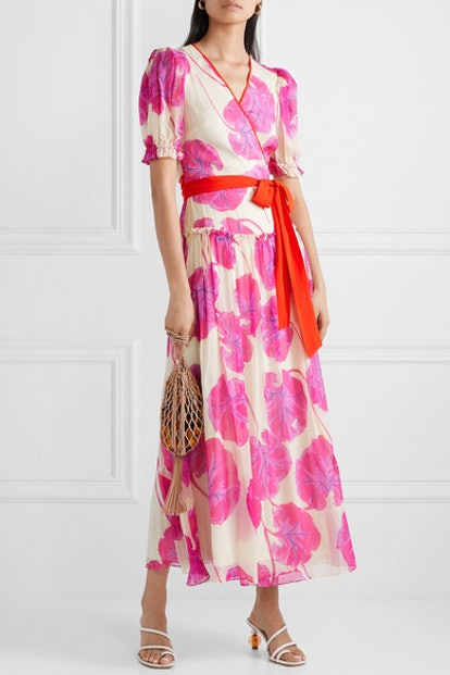 Ruffled Pink Crinkled Silk-Chiffon Wrap Maxi Dress