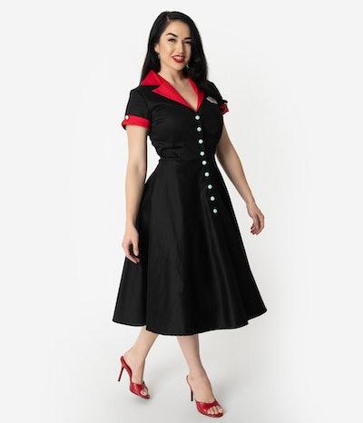 1950s Black & Red Fizzy Swing Diner Dress