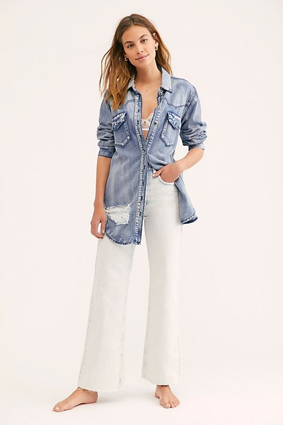 High-Rise Straight Flare Jeans