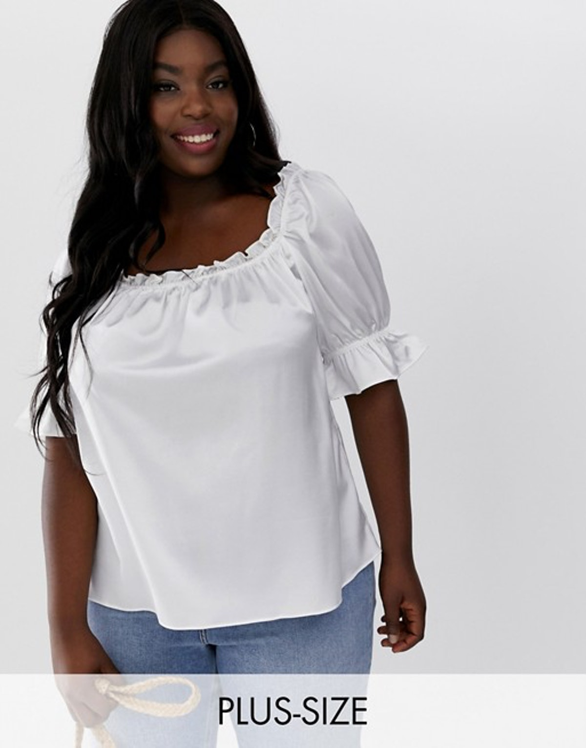 Glamorous curve blouse with puff sleeves