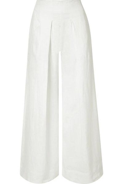 Jordana Pleated Linen Wide-Leg Pants