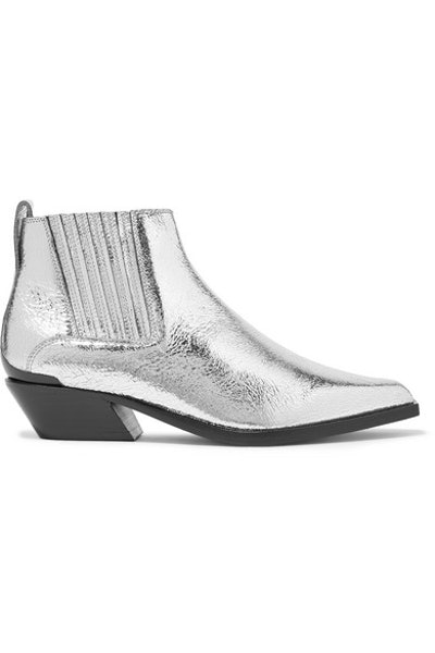 Westin Metal-Trimmed Metallic Textured-Leather Ankle Boots