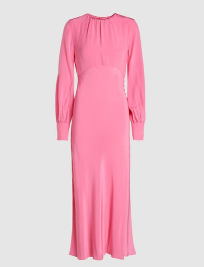 Long Sleeve Silk Midi Dress