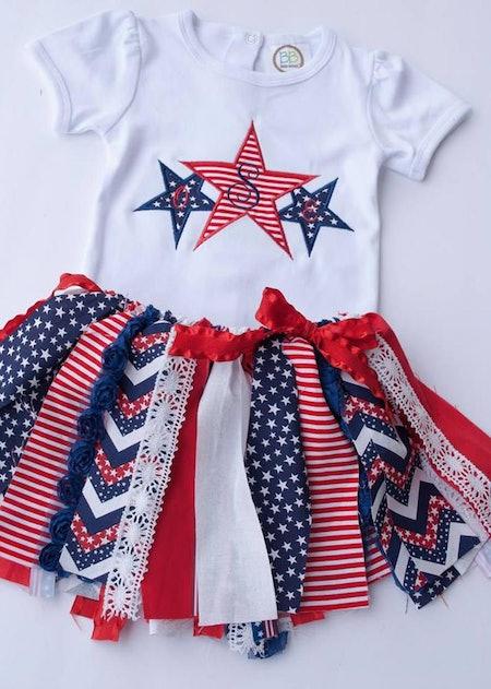Fourth of July Patriotic Fabric Tutu Onesie