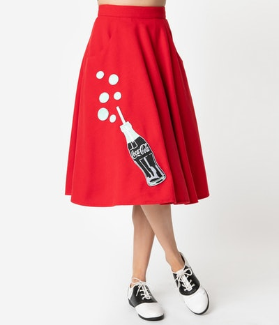 1950s Red Cola Bottle Bubbly Swing Skirt