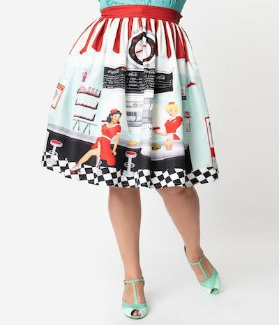 Plus Size 1950s Diner Scene High Waist Swing Skirt