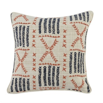 Terracotta & Indigo Mudcloth Accent Pillow