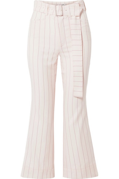 ORSEUND IRIS Cropped belted pinstriped wool-blend flared pants