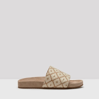 Luciana Tan Cream Raffia Sandals