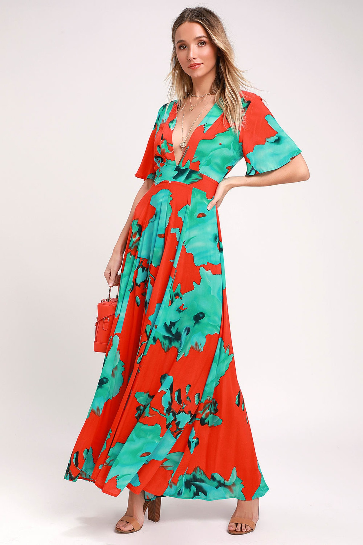 Temptress Red And Teal Blue Print Maxi Dress