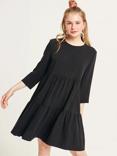 Black Coryn Linen Blend Smock Mini Dress