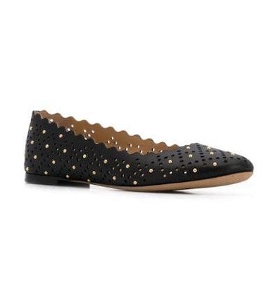 Scalloped Edge Ballerina Shoes