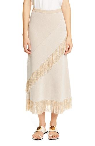 Tidar Fringe Trim Knit Midi Skirt in Light Sand