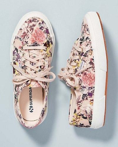 Floral-Printed Velvet Sneakers