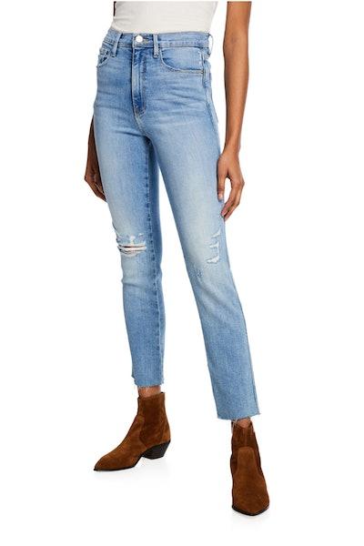 Le Sylvie High-Rise Straight Raw-Edge Jeans