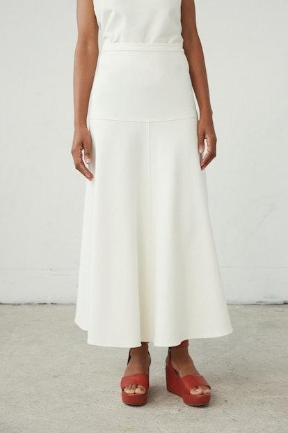 Albi Skirt in Off White Tech Gabardine