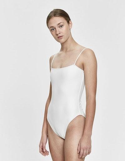 Straight One-Piece Swimsuit in Bone