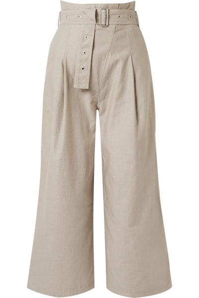 Via Cropped Belted Canvas Pants