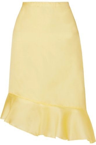 Kika Asymmetric Ruffled Silk-Georgette Skirt