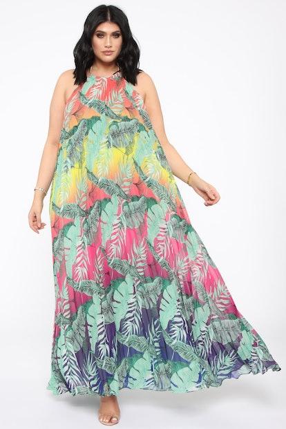 Tropical Life Halter Maxi Dress - Green/Combo