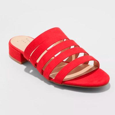 Microsuede Low Heeled Slide Sandals