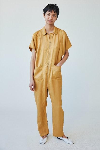 Barrie Jumpsuit in Gold Fluid Linen