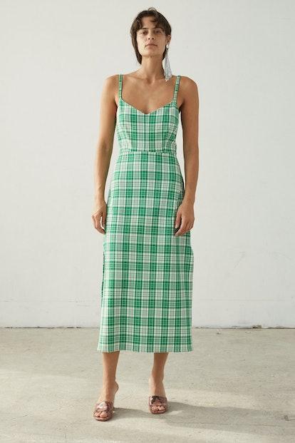 Long Agitator Dress in Green Check Waffle