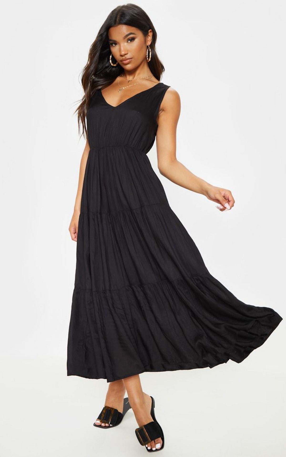 Black V Neck Tiered Midaxi Dress