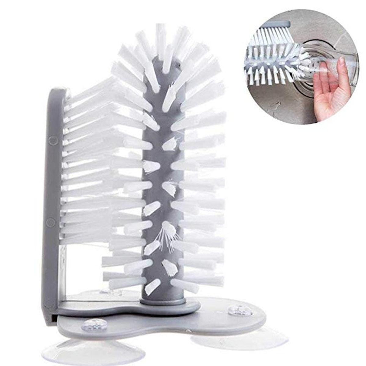 KOBWA Glass Washer with Double Sided Bristle Brush