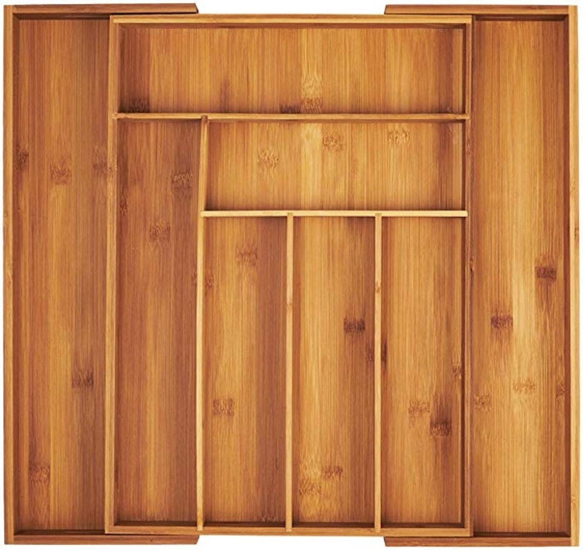 AmazonBasics Bamboo Expandable Kitchen Utensils Drawer Organizer