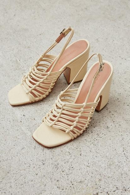 Kross Sandal in Bone Kidskin Leather