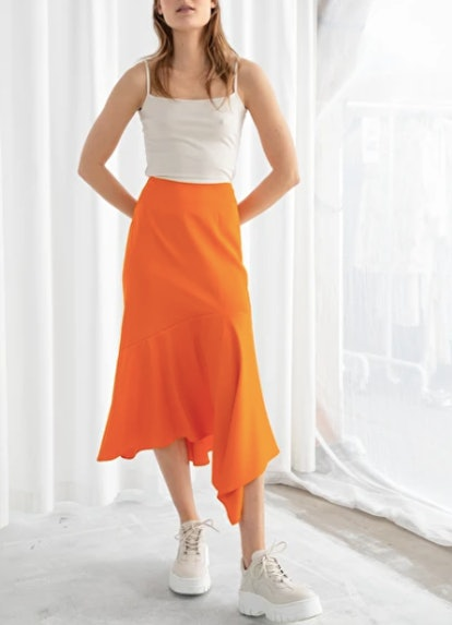Satin Handkerchief Midi Skirt