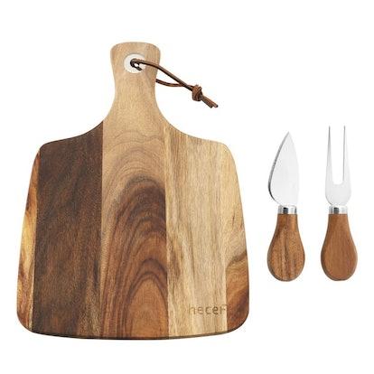 hecef Acacia Wood Cheese Board Set