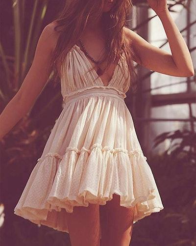 R.Vivimos Halter Deep V Mini Dress