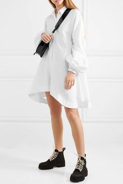 Asymmetric Cotton-Poplin Dress
