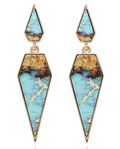 BONALUNA Wood and Marble Earrings