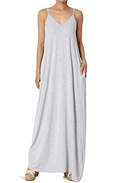 TheMogan Casual Draped Soft Jersey Maxi Dress