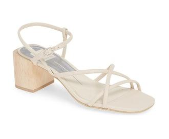 Zayla Block Heel Sandal in Ivory Leather