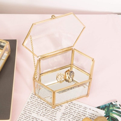 Home Details Vintage Glass Jewelry Box