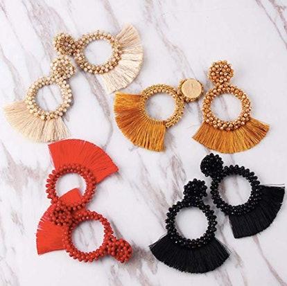 Dvacaman Hoop Tassel Earrings