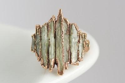 Pure Fine Silver Green Kyanite Shield Ring
