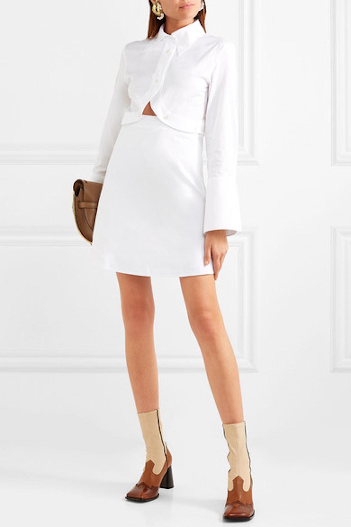 Convertible Cotton-Poplin Shirt Dress