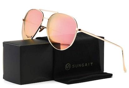 SUNGAIT Mirrored Aviator Sunglasses